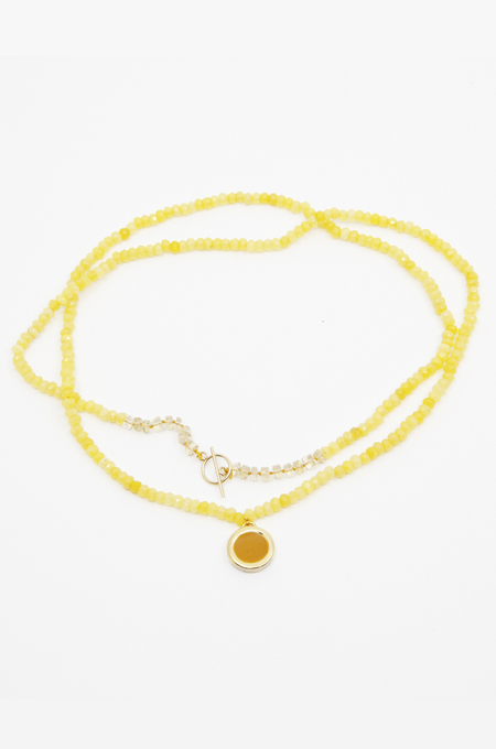A. Carnevale LONG BEADED NECKLACE - YELLOW