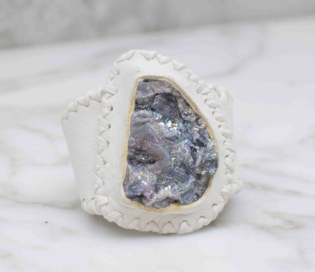 Phoenix Two Moons Chalcedony Druzy infused with crystal