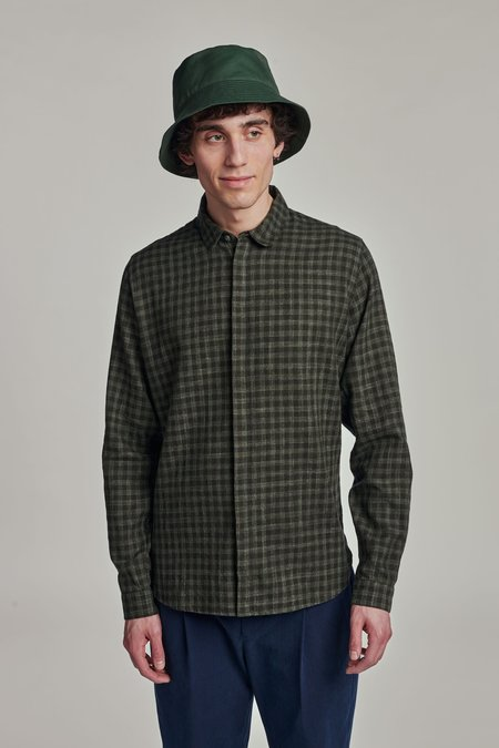 Delikatessen Tonal Pattern Round Collar Cute Shirt - Green