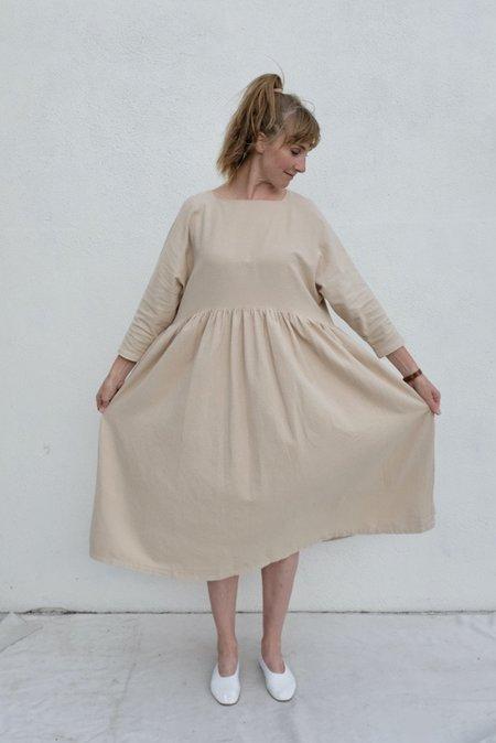 Black Crane Tradi Dress Cotton Flannel - Natural