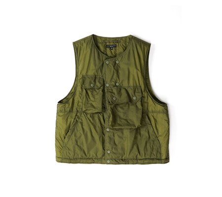 Engineered Garments Nylon Micro Ripstop Cover Vest - Olive