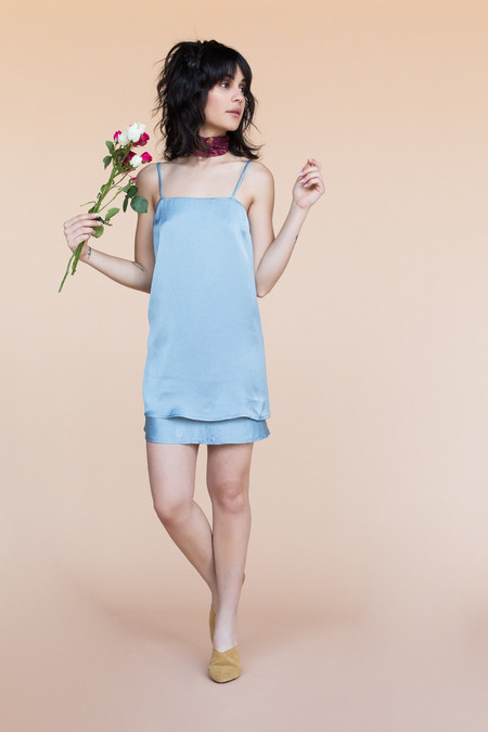 BETWEEN TEN Fay Slip Dress - Blue Satin