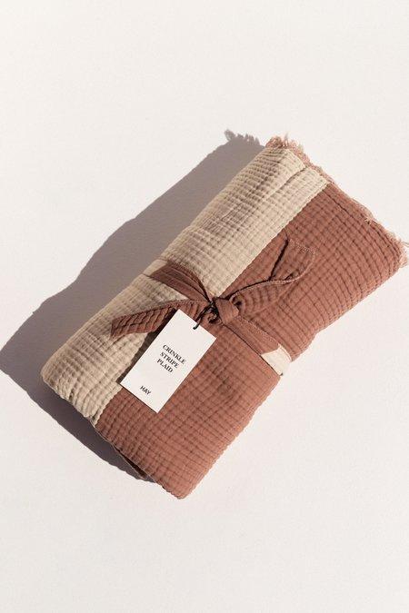 Hay Crinkle Stripe Plaid Blanket - Cappuccino