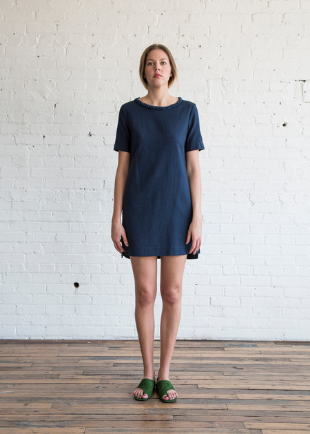 Raquel Allegra Short Sleeve Shift Dress Sapphire