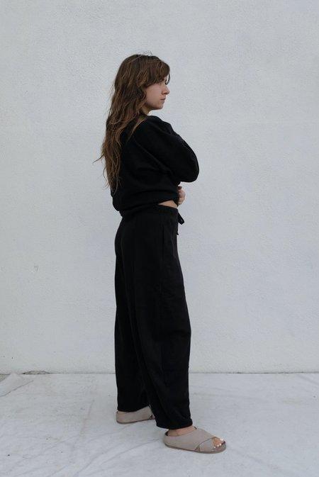 Black Crane Cotton Terry Wide Pants - Black