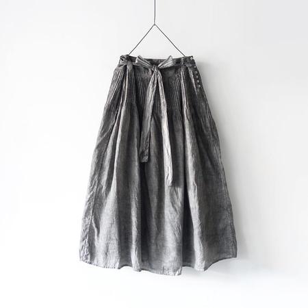 ICHI ANTIQUITES Hand Dye Khadi Cotton Pin Tuck Flare Skirt - Sumi