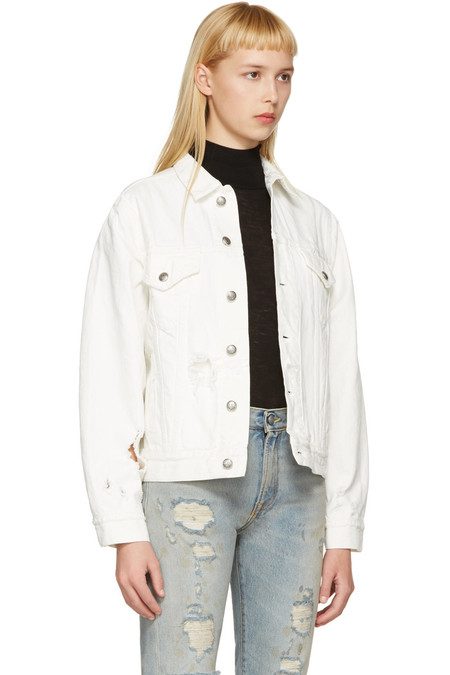 R13 WHITE DENIM SKY TRUCKER JACKET