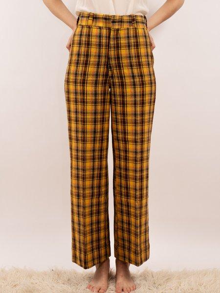 Vintage 1970's wool plaid pants - mustard/orange/brown plaid