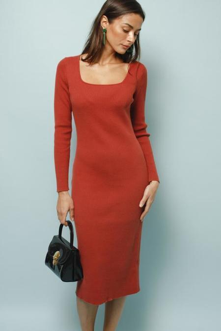 Frnch Woven Midi Dress - Amber