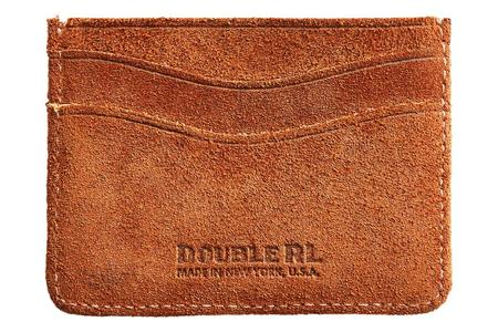 RRL Roughout Suede Card Holder wallet - brown
