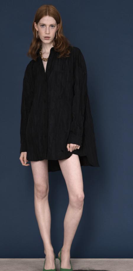 Ghospell Volcanic Crinkle Mini Shirt Dress  - BLACK