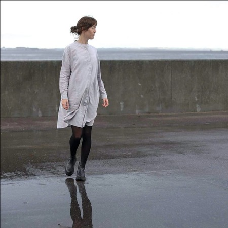 Gai & Lisva Oline Cotton Shirt Dress - Silver Scone