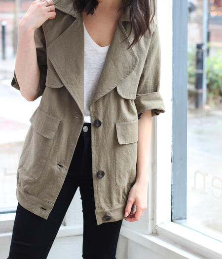 LUSH  Oversized Linen Jacket in Olive Green