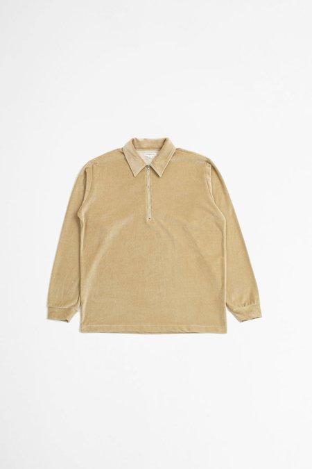 Lady White Co. Velour quarter zip brown twig jacket - natural