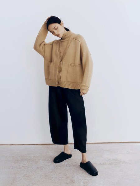 Monica Cordera Wool Saddle Cardigan - Camel