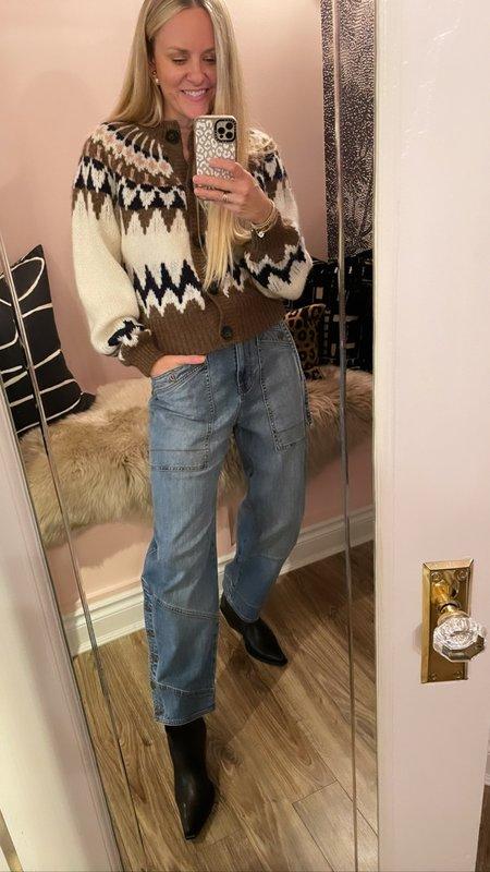 FRAME Denim Fairisle Cardigan Sweater
