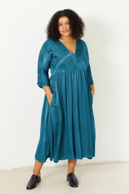 North Of West Lynx Jacquard Dress - Peacock