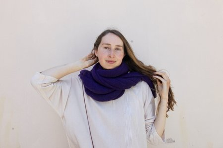 scarf 100% Italian Cashmere Jersey Shawl - Charcoal