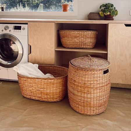 Olli Ella Rattan Tuscan Lidded Storage Basket - Beige