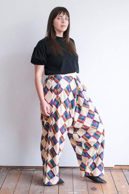 RUJUTA SHETH Modern Harem Pant - Patchwork Mini Chex