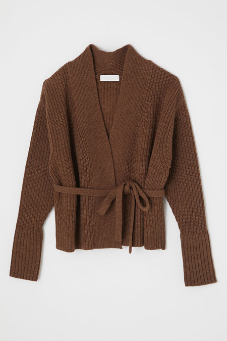 Moussy Short Knit Cardigan Sweater - Brown