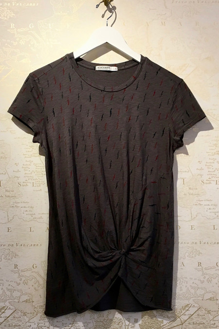 Stateside Lightning Bolt Print Cotton Slub Tee