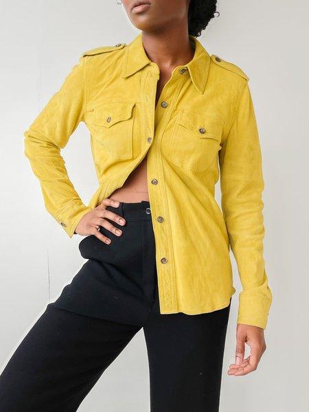 Vintge Suede Button Down Shirt - yellow