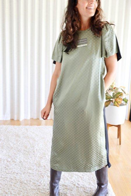 MM6 Maison Margiela Jacquard Flower Shirt Dress - Green/Black