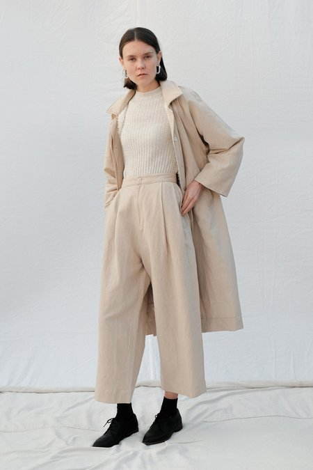Micaela Greg Pleated Trouser - Natural