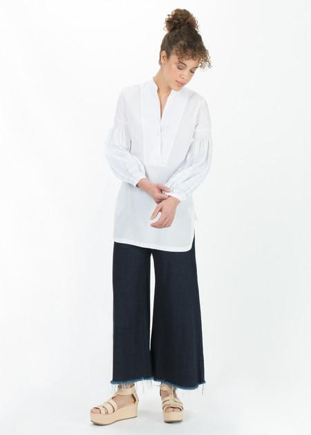 Le Sarte Pettegole Pillow Sleeve Peasant Top - White/Blue