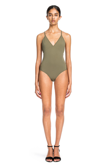 Beth Richards Barre One Piece-Khaki Classic One Piece With Criss Cross Back