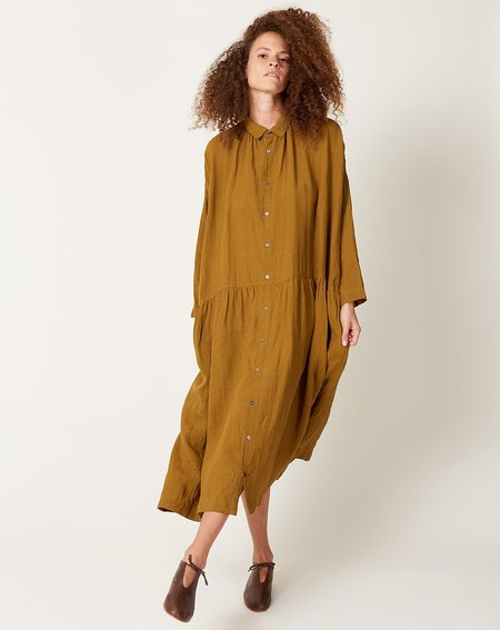 ICHI ANTIQUITES Color Linen Dress - Dark Mustard