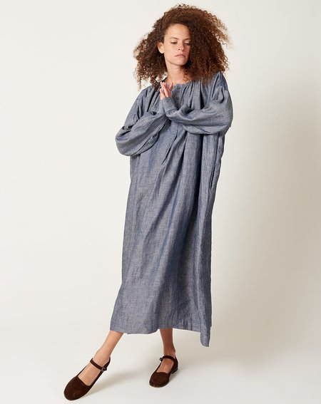 ICHI ANTIQUITES Light Indigo Herringbone Dress - blue