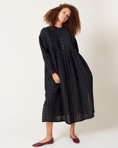 ICHI ANTIQUITES Linen Azumadaki Gingham Pintuck Dress - Black