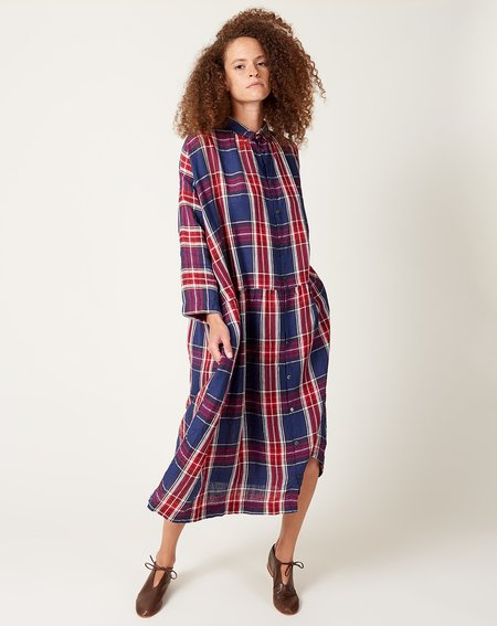 ICHI ANTIQUITES Linen Tartan Check Dress - Navy/Red
