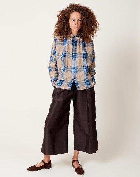 ICHI ANTIQUITES Linen Tartan Check Shirt - Beige/Navy