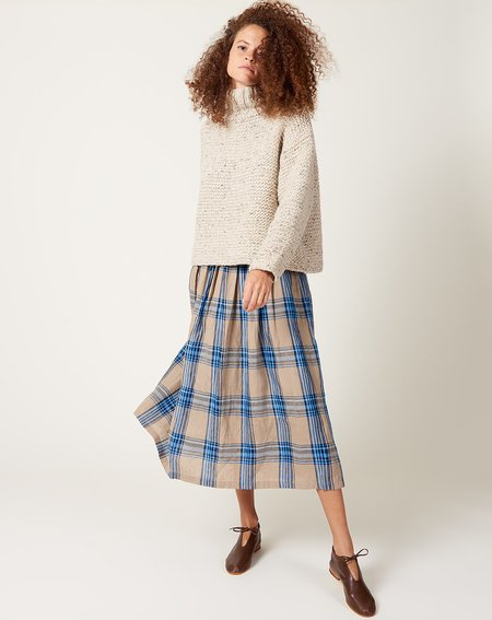 ICHI ANTIQUITES Linen Tartan Check Skirt - Beige/Navy