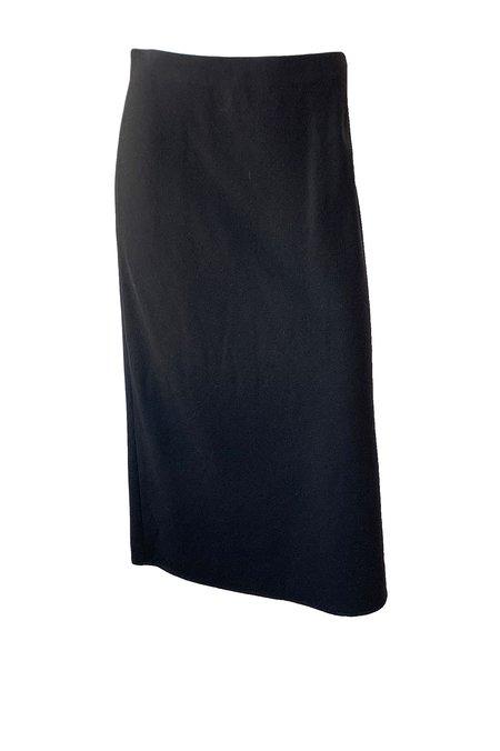 VINCE Brushed Flannel Side Slit Skirt - Black
