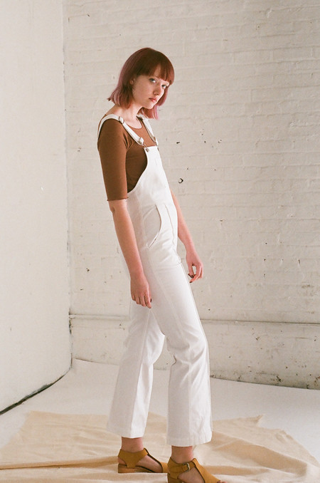Horses Atelier Cropped High Waisted Overalls in Ivory