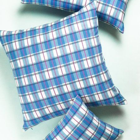 Archive New York San Andres Gingham Pillow - Blue/White