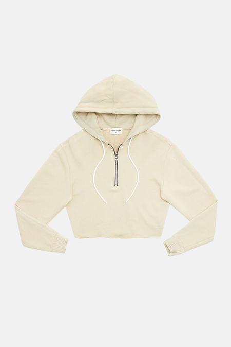 Cotton Citizen Brooklyn Crop Zip Hoodie Sweater - Oatmeal Mix