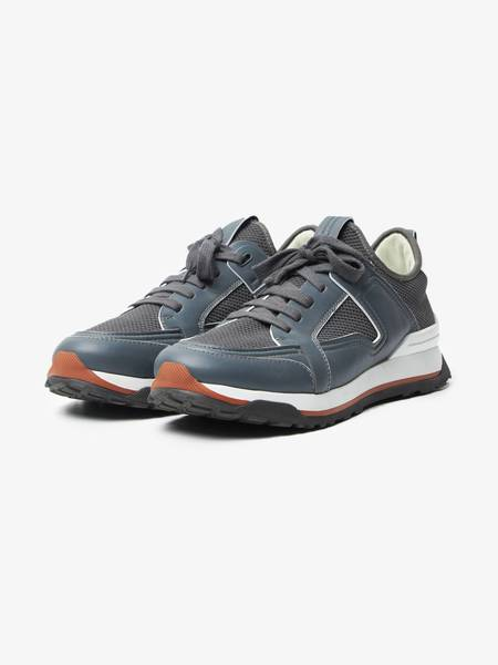 [Pre-Loved] Ermenegildo Zegna Male Dark Gray Leather And Textile Sneakers-Grey