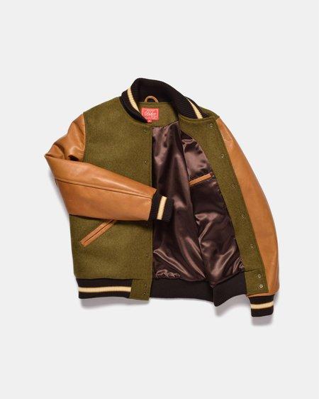 Dehen Varsity Jacket - Olive Mix/Rust