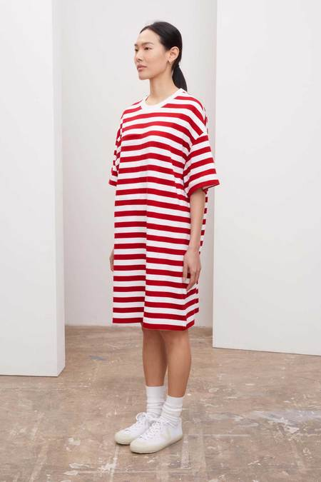 Kowtow Tee Dress - red-stripe