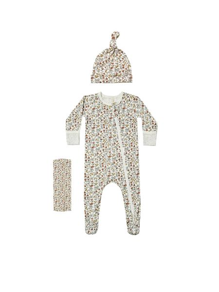 Kids Quincy Mae Fleur Bamboo Layette Set - Ivory