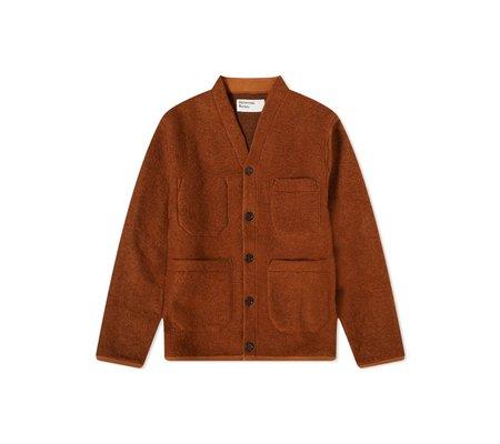 Universal Works Cardigan -  Rust Wool Fleece