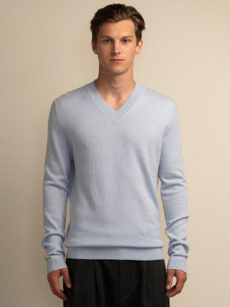 PURECASHMERE NYC V Neck Sweater - Baby Blue