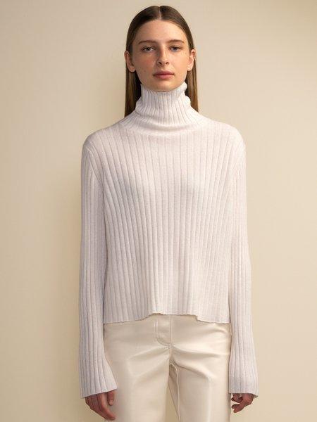 PURECASHMERE NYC Turtleneck Rib Sweater - Vintage White