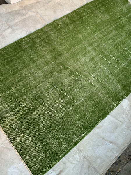 vintage Over Dyed Wool Rug - Citron Green
