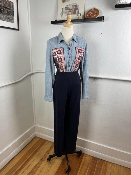 [PRE-LOVED] Eileen Fisher Navy Knit Wideleg Trousers -Black